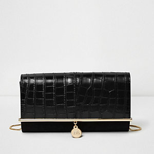 Schwarze Clutch in Kroko-Optik