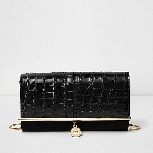 Black croc embossed bar top clutch bag