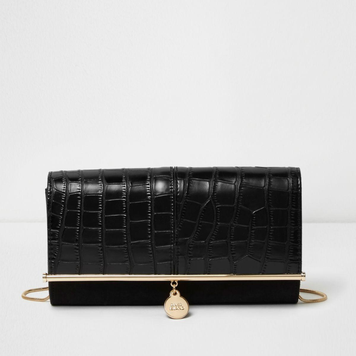 Zwarte clutch met krokodillenprint in reliëf