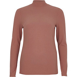 Beige brushed rib long sleeve turtle neck top