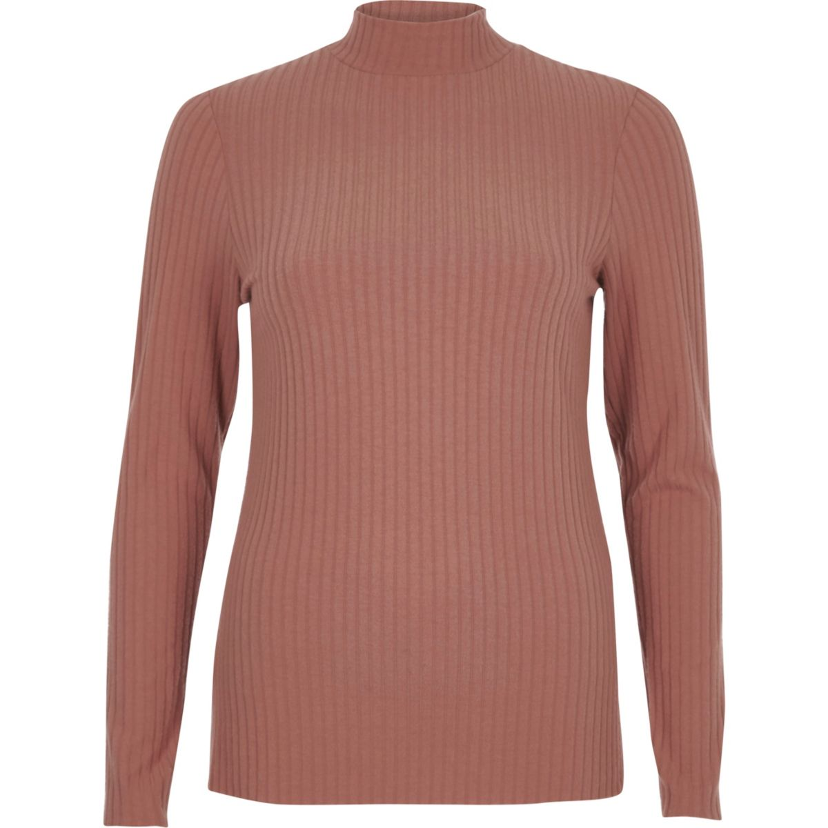 Beige brushed rib high neck fitted top