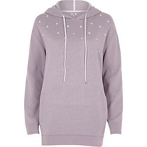 Light purple pearl embellished hoodie