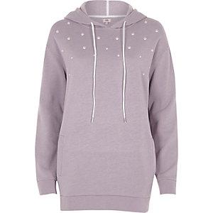 Lichtpaarse hoodie met parels