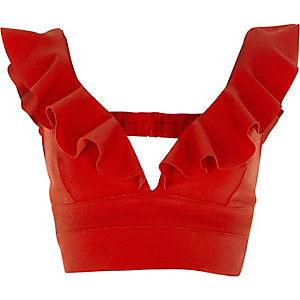 Red frill front plunge bralette