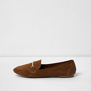 Tan suede snaffle slippers