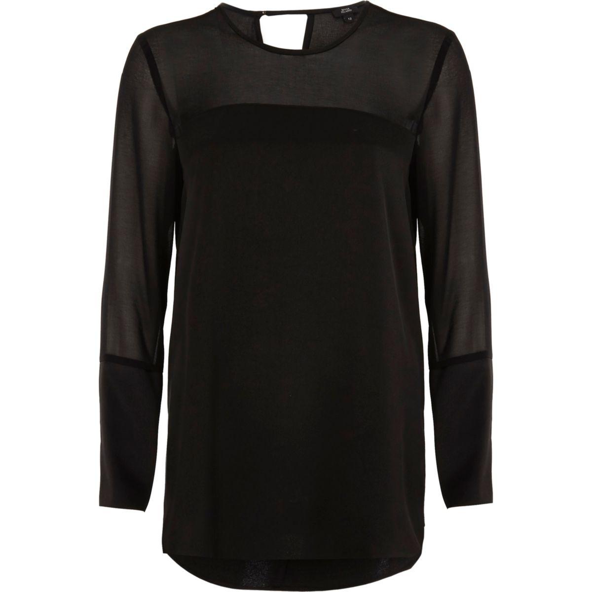 Black sheer long sleeve top