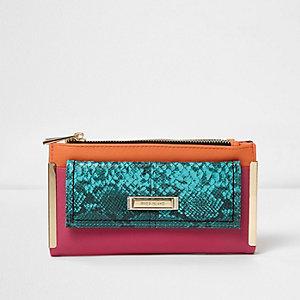 Pink snake print slim foldout purse