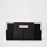 Black glitter gold tone corner foldout purse
