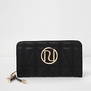 Zwarte doorgestikte portemonnee met textuur
