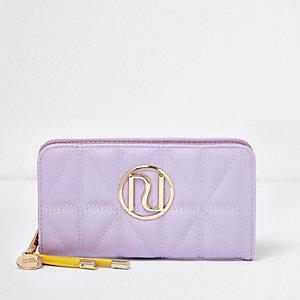 Porte-monnaie matelassé violet clair à rabats