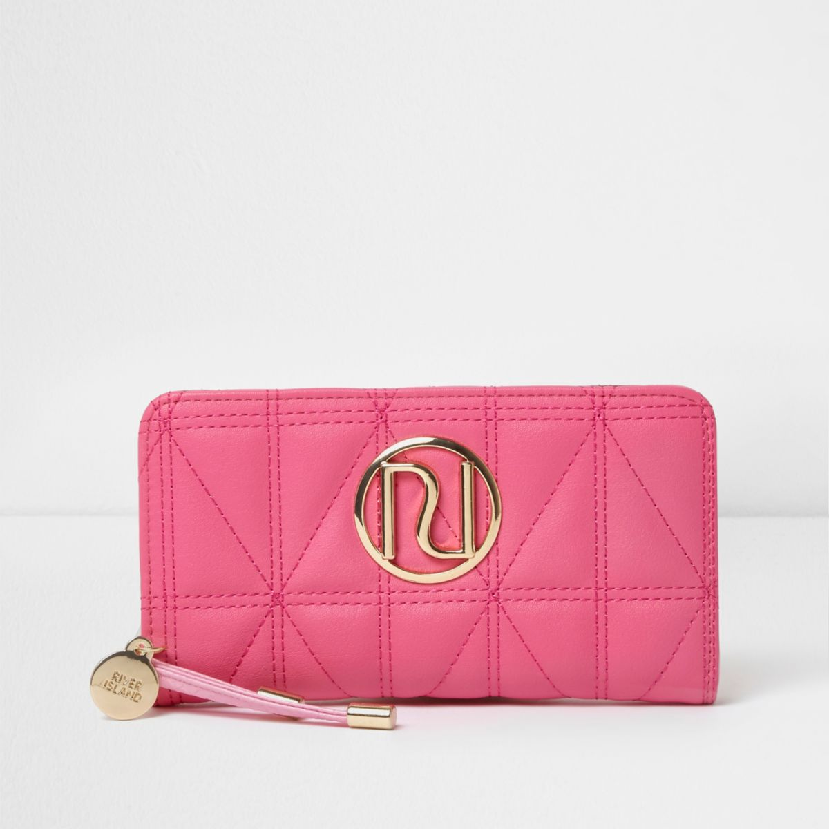 Bright pink quilted foldout purse