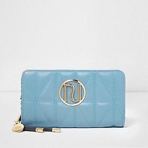 Blauwe doorgestikte portemonnee