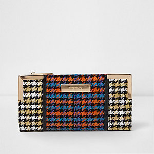 Orange houndstooth check slim foldout purse