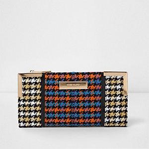 Oranje smalle uitvouwbare portemonnee met pied-de-poule-print