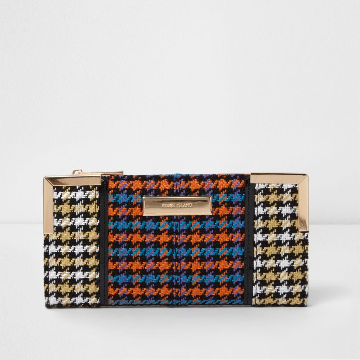 Orange houndstooth check slim foldout purse