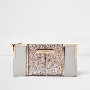Grey glitter slim foldout purse