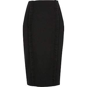 Black double frill panel jersey pencil skirt