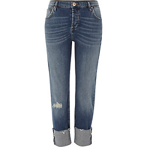 Dark blue turn-up hem boyfriend jeans