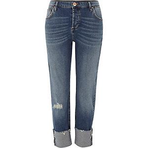 Dark blue turn-up hem boyfriend jeans