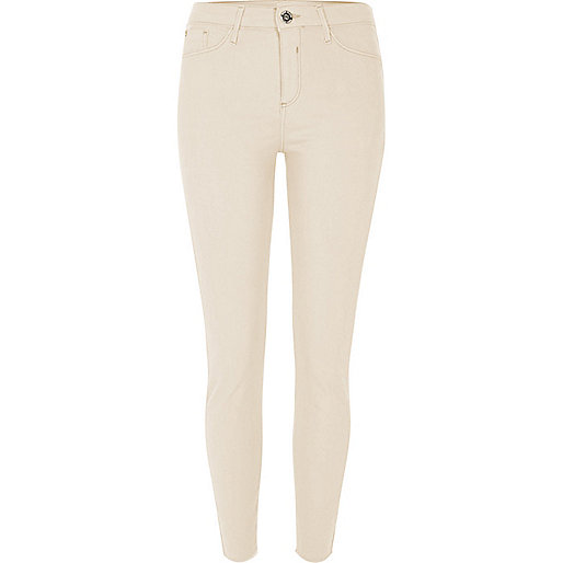 Cream Molly skinny fit jeggings