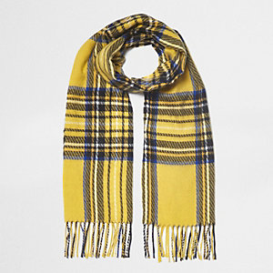 Yellow plaid check scarf