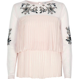 Cream floral embroidered tiered pleat top