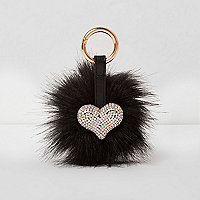Black faux fur pom pom diamante heart keyring