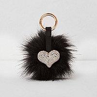 Porte-clé cœur à strass et pompon en fausse fourrure noire