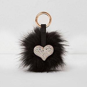 Zwarte hartvormige sleutelring met stras en pompon van imitatiebont