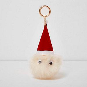 Rode sleutelhanger met kerstman en pompon