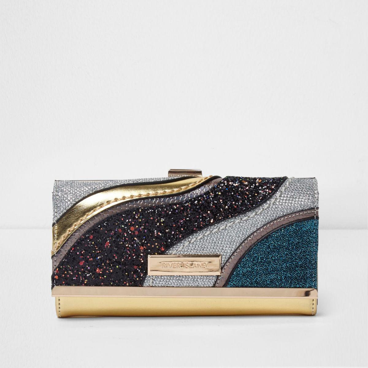 Gold panel glitter clip top purse