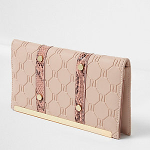 Pink embossed snakeskin travel organizer