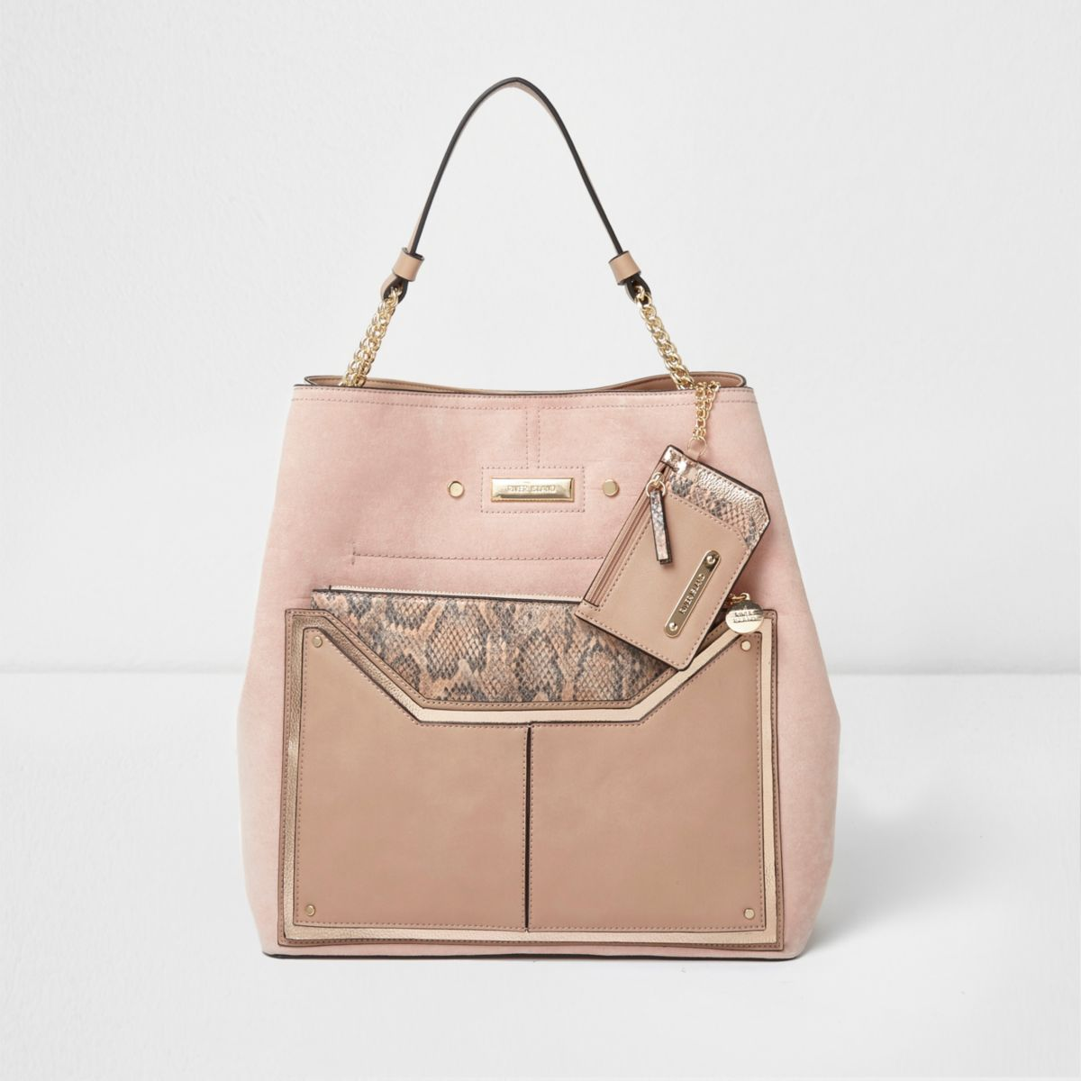 Pink snake skin pouch slouch chain bag