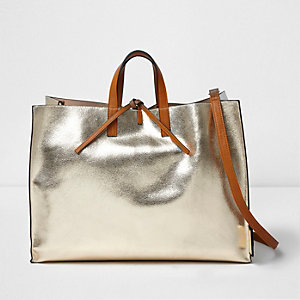 Gold metallic tie top beach bag