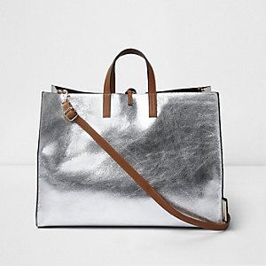 Silver metallic tie top beach bag
