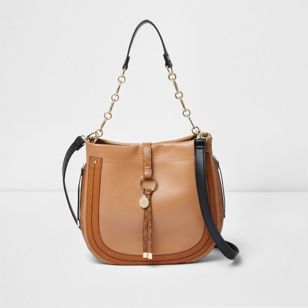Tan ring front scoop slouch chain bag