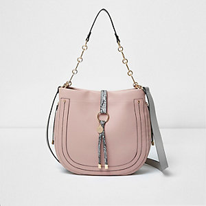 Light pink snakeskin scoop slouch bag