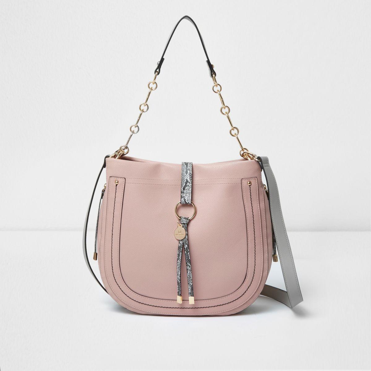 Light pink snakeskin scoop slouch bag