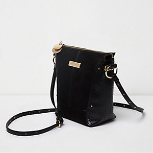Black snake panel mini cross body bucket bag