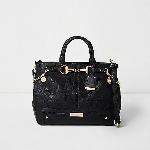 Black RI embossed snaffle chain tote bag