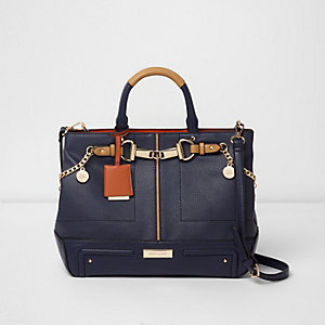 Navy snaffle front chain charm tote bag