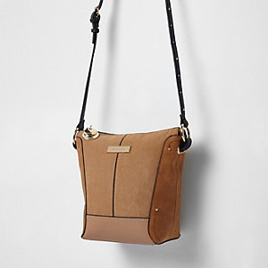 Beige panel mini cross body bag