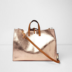 Rose gold metallic tie top beach bag