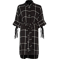 Black large check print shirt dress