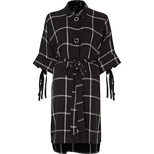Black large check print shirt dress