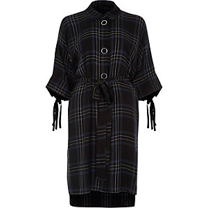 Blue check three quarter sleeve shirt dress