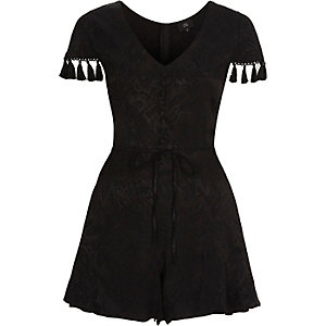 Black paisley tassel trim sleeve playsuit