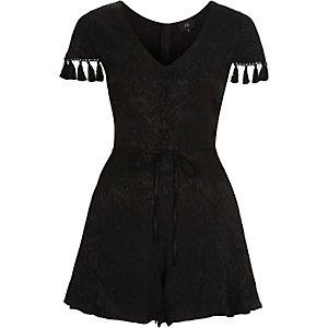 Combi-short motif cachemire noir avec manches bordées de pampilles