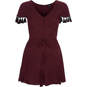 Burgundy paisley tassel trim sleeve playsuit