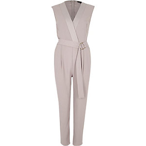 Grijze mouwloze tailored jumpsuit